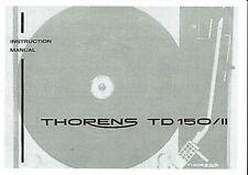 Thorens Bedienungsanleitung für TD 150 / II