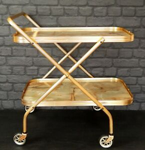 Vintage 1960s Retro Gold & Marble Effect Cocktail Drinks Tea Hostess Trolley #B