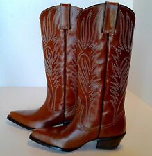 Women's Steve Madden COWGIRL BOOTS Size 8 Brown Leather Western Cowboy Knee High