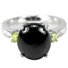 NATURAL AAA BLACK SPINEL, PERIDOT & WHITE CZ STERLING 925 SILVER RING SIZE 6.75