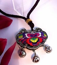 Necklace Pendant 80 cm Embroidered Rose Flower Indian Silver Charm Box Gypsy