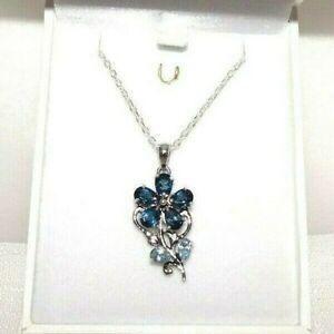 3.00ct London Blue & Light Blue Topaz Italian Sterling Silver Flower Necklace