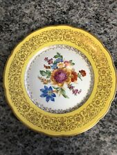 VTG BARONET BOHEMIA CZECHOSLOVAKIA CARMEN DINNER PLATE YELLOW BAND & FLOWERS