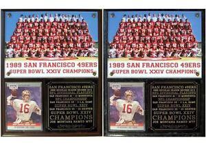 San Francisco 49ers 1989 Super Bowl XXIV Champions Photo Card Plaque