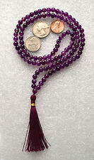 Purple Jade Handmade 6mm 108+1 Vrindavan Mala Beads Necklace - Energized