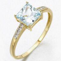 Fantastic AAA Size 7 Womens 18K Gold Filled Aquamarine Engagement  Fashion Rings