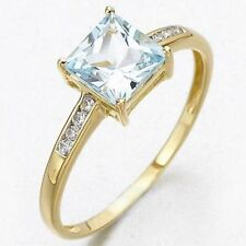 Fantastic AAA Size 7 Womens 18K Gold Filled Aquamarine Engagement  Fashion Rings