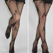 Stay Up Thigh high Stockings Socks Fishnet Mesh Skull Print Punk Stretch Women