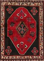 SALE Vintage Geometric Tribal Abadeh Area Rug Hand-Knotted WOOL RED Carpet 4'x6'