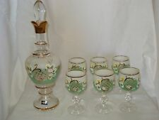 Green Bohemian Crystal Decanter Set with 6 Glasses