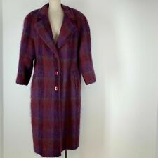 Vintage Pink/Purple Plaid Mohair Wool Blend Coat Women's Size 12 M . Liman