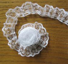 10 Yrds 2cm Pleated Organza Lace Edge Trim Gathered Mesh Ribbon Sewing DIY White