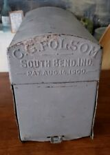 ANTIQUE MAILBOX c1900 C.G. FOLSOM US MAIL SOUTH BEND INDIANA
