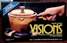 New! Corning Visions Amber 1 Quart Covered Saucepan, Spout, Cookware, Microwave