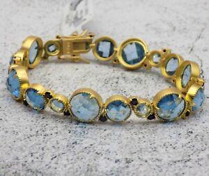 Freida Rothman Bracelet Imperial Soft Blue Stones 14k Gold Over Sterling Silver