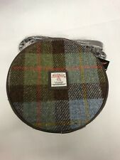 Harris Tweed Bannock Small Round Shoulder Bag Blue Green Check