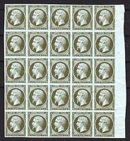 """France Stamp Yvert 11 """" Napoleon III 1c Olive Bloc Of 25 """" Neufxx Very Good P152"""