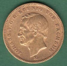 20 Mark 1872 E  Johann König von Sachsen Jäger 258 Gold Original