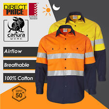 Hi Vis Safety Shirts Work Shirt Light weight Cotton Drill Reflective AU Standard