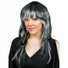 Black White Hair Wig Halloween Streaks Munster Witch Vampire Vixen Zombie Lily