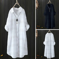 Women Casual Stripe Plaid Check Long Shirt Tops Buttons Down Loose Blouse Plus