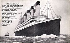 White Star SS Titanic. Steamer Titianic by Tichnor Brothers.