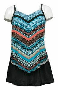 DreamShaper by Miraclesuit Women's Sz 8 Printed Tankini Swimsuit Green A375828