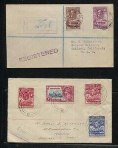 Bechuanaland 1933 GV & Basutoland 1938 GV/GVI Registered Covers
