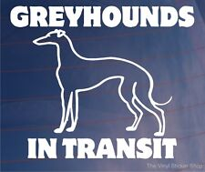 GREYHOUNDS IN TRANSIT Vinyl Car/Van/Window/Bumper Sticker/Decal for Dog Owners