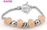 handmade Dragon vein European charm beaded bracelet spacial lobster clasp S_A148