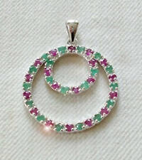 925 Sterling Silver Pendant - 31,08 ct Ruby & Emerald