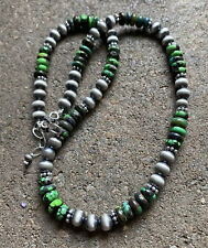 Sterling Silver Green Turquoise Navajo Pearls Bead Necklace. 18 inch