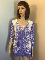 FIGUEROA & FLOWER ANTHROPOLOGIE Sz M White Blue Border Print Chiffon BLOUSE TOP