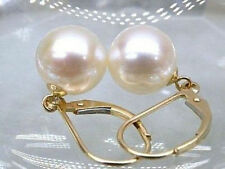PERFECT AAA++ROUND 8-9MM WHITE SOUTH SEA PEARL DANGLE EARRING 14K YELLOW GOLD