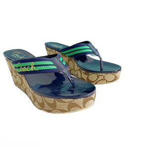 "COACH ""Gabriela"" Stripe Webb Platform Sandals 8M Color Blue/Green"