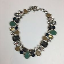 J.Crew Crystal Statement Necklace Multicolor Teal Gray Purple NWOT