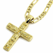 """Mens 14K Gold Plated Nugget Cross Pendant Hip-Hop 5mm/24"""" Figaro Chain"""