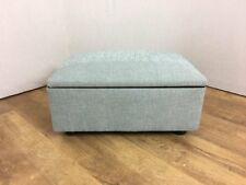 Duck Egg Textured Chenille Fabric Foot Stool/Storage Box/Pouffe