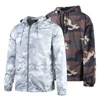 Men's Outdoor Camo Windbreaker Water Resistant Jacket With Front Zipper S-3X