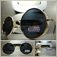 VINTAGE 50's RETRO Style STEAMPUNK CYBER Round Blinder SUN GLASSES Gold Frame