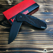 Kershaw 1670BLK Blur Black Handle Plain Edge Assisted Open Folding Pocket Knife