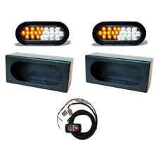 "6"" Oval Amber & White LED Strobe & Oval Mounting Box & Strobe Controller 2 PCS"