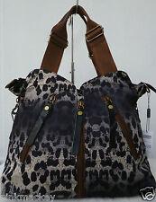 Handtasche Damen Tasche Shopper Bag  Animalprint Leder Leopard schwarz  NEU