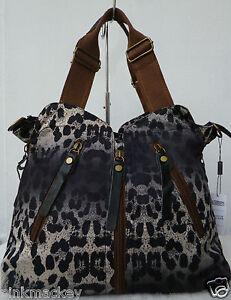 Handtasche Damen Tasche Shopper Bag Animalprint Leder Leopard schwarz braun NEU