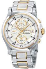 SEIKO Premier Alarm Chronograph SNA586 SNA586P1 Men Roman 100m 2 Tone Watch