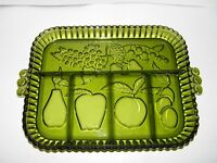 INDIANA GLASS GREEN 5 SECTION TRAY DISH WITH FRUIT MOTIF PLATTER  VTG EUC