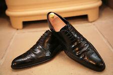 Givenchy Men's Black Leather Elastic Bridge Detail Wholecut Shoes UK 9