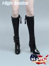 """1/6 Women Black High Heels Boots Zipper Shoes For 12"""" Phicen Kumik Figure ❶USA❶"""