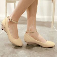 Womens Mary Jane Ankle Strappy Pointy Toe Flats Low Heel Round Toe Pumps Shoes
