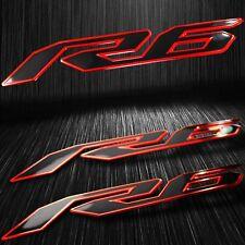 "5-3/4"" Emblem 3D Decal Fender/Fairing Logo Sticker YZF-R6/R6S Black/Chromed Red"